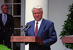 President Boris Yeltsin of the Russian Federation, makes remarks as he and United States President George H.W. Bush announce an arms control agreement that will eliminate all of Russia's most powerful SS-18 multiple warhead missiles, in the Rose Garden of the White House in Washington, D.C. on June 16, 1992. After making their statements the presidents took questions from the media. Photo by Ron Sachs / CNP /ABACAPRESS.COM