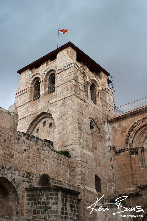 A view of the outside of the  Church of The Holy Sepulcher in Jerusalem. This is considered to be one of the holiest churches in the world, as it is where Jesus died and was buried.<br />
