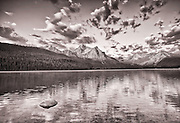 Sunrise & Clouds Over McGown Peak and Stabley Lake in Sawtooth Mountains near Stanley Idaho. Black&White.