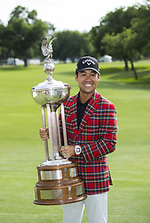 May 26, 2019 - Fort Worth, TX, USA - Kevin Na with the Marvin Leonard Trophy after winning the 2019 Charles Schwab Challenge PGA at Colonial Country Club. (Credit Image: © Erich Schlegel/ZUMA Wire)