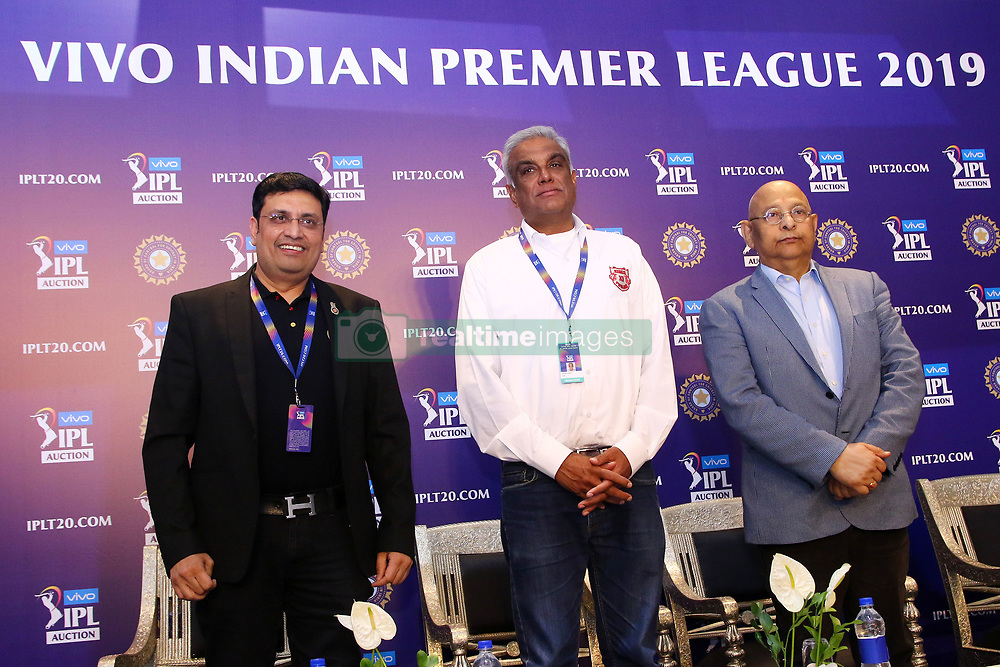 December 18, 2018 - Jaipur, Rajasthan, India - RCB team Chairman Sanjeev Churiwala (L), Kings XI Punjab CEO Satish Menon (C) and Board Of Control For Cricket In India (BCCI) secretary Amitabh Choudhary (R) attend a press conference for the Indian Premier League 2019 auction in Jaipur on December 18, 2018, as teams prepare their player rosters ahead of the upcoming Twenty20 cricket tournament next year. The 2019 edition of the IPL -- one of the world's most-watched sporting events attracting the world's top stars -- is set to take place in April and May next year.(Photo By Vishal Bhatnagar/NurPhoto) (Credit Image: © Vishal Bhatnagar/NurPhoto via ZUMA Press)