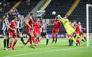 Aaron Chapman of Accrington Stanley punches the ball away during the Sky Bet League 2 match at Meadow Lane, Nottingham<br /> Picture by James Wilson/Focus Images Ltd 07522 978714‬‬<br /> 25/08/2017
