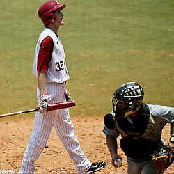 June 05, 2011; Tallahassee, FL, USA; Alabama Crimson Tide second baseman Josh Sanders reacts after striking out during the fifth inning of the Tallahassee regional of the 2011 NCAA baseball tournament against the UCF Knights at Dick Howser Stadium. Alabama defeated UCF 12-5. Mandatory Credit: Derick E. Hingle