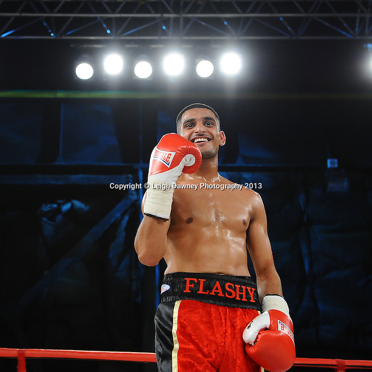 Muheeb Fazeldin victories after defeating Leo D'Erlanger in a boxing contest on Saturday 14th September 2013 at the Magna Centre, Rotherham. Hennessy Sports. Self billing applies. © Credit: Leigh Dawney Photography.