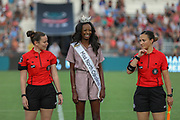 Miss North Carolina Alexandra Badgett poses with two of the game officials prior to a game between the North Carolina Courage and Manchester City during an International Champions Cup women's soccer game, Thurday, Aug. 15, 2019, in Cary, NC. The North Carolina Courage defeated Manchester City Women 2-1.  (Brian Villanueva/Image of Sport)