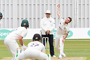 Ryan Higgins bowling during the Specsavers County Champ Div 2 match between Leicestershire County Cricket Club and Gloucestershire County Cricket Club at the Fischer County Ground, Grace Road, Leicester, United Kingdom on 17 June 2019.