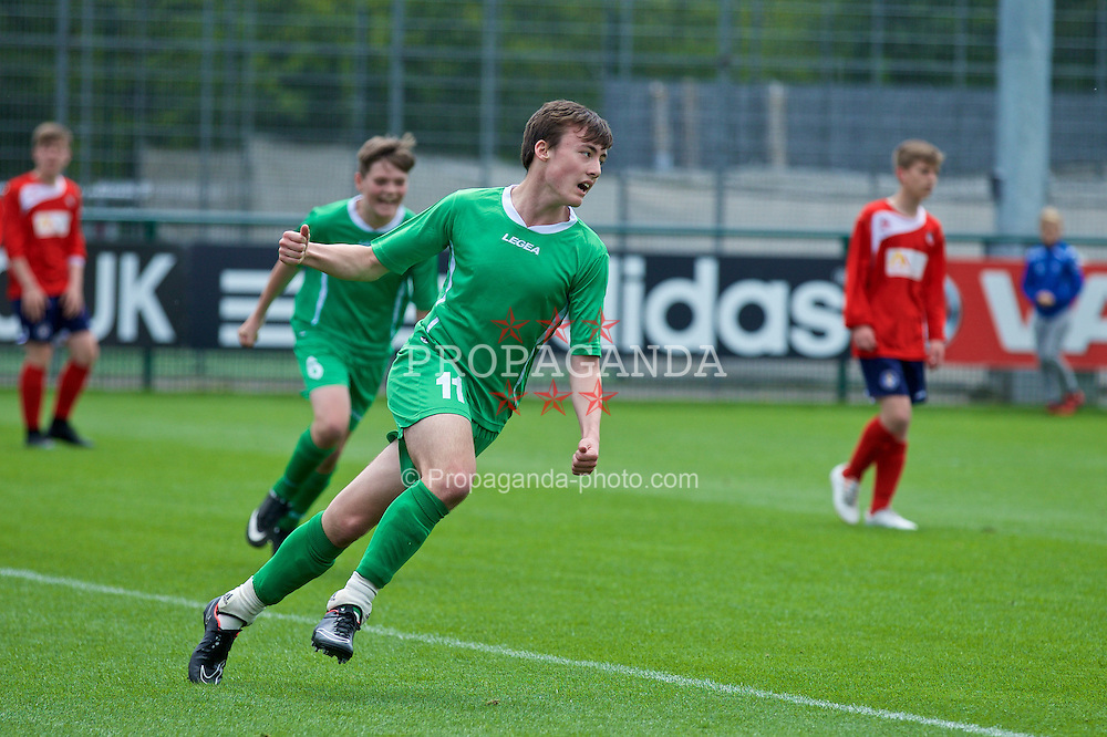 NEWPORT, WALES - Thursday, May 28, 2015: Central WPL Academy Boys' Celt Owen celebrates scoring during the Welsh Football Trust Cymru Cup 2015 at Dragon Park. (Pic by David Rawcliffe/Propaganda)