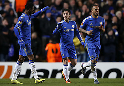 21.02.2013, Stamford Bridge, London, ENG, UEFA Europa League, FC Chelsea vs Sparta Prag, 1. Runde, im Bild Eden Hazard (C) of Chelsea celebrates his goal with teammate John Obi Mikel (L) during UEFA Europa League knockout round 1st leg match between Chelsea FC and Sparta Prag at the Stamford Bridge, London, Great Britain on 2013/02/21. EXPA Pictures © 2013, PhotoCredit: EXPA/ Propagandaphoto/ Wang Lili..***** ATTENTION - OUT OF ENG, GBR, UK *****