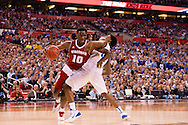 06 APR 2015:  Forward Nigel Hayes (10) of the University of Wisconsin tries to battle past Forward Justise Winslow (12) of Duke University during the championship game at the 2015 NCAA Men's DI Basketball Final Four in Indianapolis, IN. Duke defeated Wisconsin 68-63 to win the national title. Brett Wilhelm/NCAA Photos