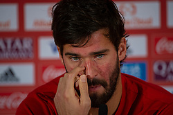 DOHA, QATAR - Friday, December 20, 2019: Liverpool's goalkeeper Alisson Becker during a press conference ahead of the FIFA Club World Cup Qatar 2019 Final match between CR Flamengo and Liverpool FC at the Khalifa Stadium. (Pic by Peter Powell/Propaganda)
