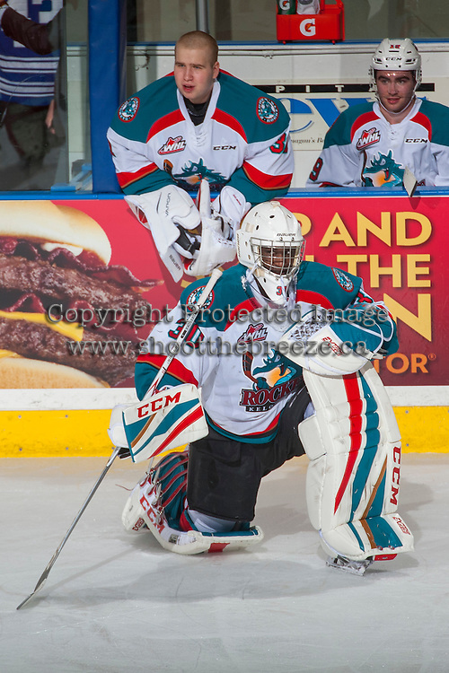 KELOWNA, CANADA - FEBRUARY 18: Michael Herringer #30 of the Kelowna Rockets stretches on the ice against the Prince George Cougars on February 18, 2017 at Prospera Place in Kelowna, British Columbia, Canada.  (Photo by Marissa Baecker/Shoot the Breeze)  *** Local Caption ***