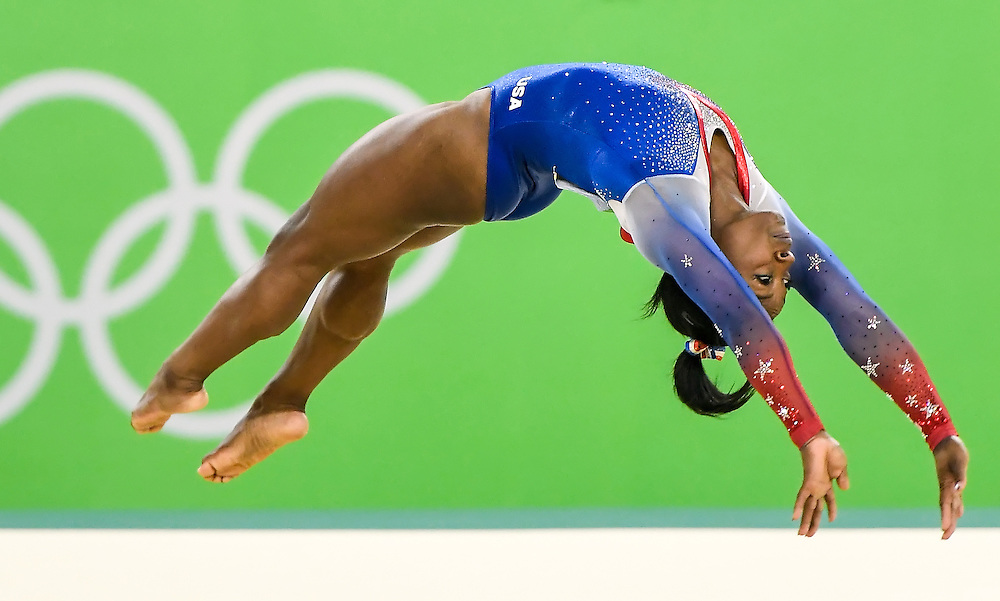 United States gymnast Simone Biles won the women's individual floor exercise gold medal on Tuesday at the Rio Olympic Arena during the 2016 Summer Olympics Games in Rio de Janeiro, Brazil.