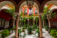 A courtyard patio in the Santa Cruz neighborhood (the former Jewish Quarter (Juderia)) in the Medieval  quarter covered with plant baskets, Seville, Andalusia, Spain.