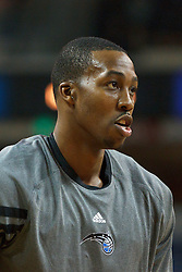 Jan 8, 2012; Sacramento, CA, USA; Orlando Magic center Dwight Howard (12) warms up before the game against the Sacramento Kings at Power Balance Pavilion. Orlando defeated Sacramento 104-97. Mandatory Credit: Jason O. Watson-US PRESSWIRE