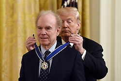 US President Donald Trump awards the Presidential Medal of Freedom to American Football hall-of-famer Roger Staubach at the White House in Washington, DC, on November 16, 2018. - The Medal is the highest civilian award of the United States. Photo by Olivier Douliery/ABACAPRESS.COM