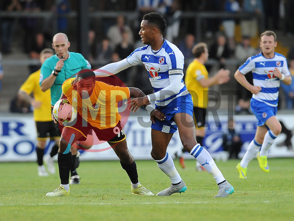Jermaine Easter of Bristol Rovers and Reading's Jordan Obita have a wrestling match - Mandatory by-line: Neil Brookman/JMP - 21/07/2015 - SPORT - FOOTBALL - Bristol,England - Memorial Stadium - Bristol Rovers v Reading - Pre-Season Friendly