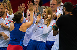 November 10, 2018 - Prague, Czech Republic - Barbora Strycova of the Czech Republic celebrates with the Czech team at the 2018 Fed Cup Final between the Czech Republic and the United States of America (Credit Image: © AFP7 via ZUMA Wire)