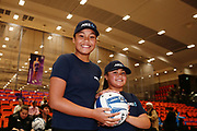 ANZ Future Captains Lata Holi aged 11 and Ilaisaane Holi aged 8 pose for a photo prior to the match. 2018 ANZ Premiership netball match, Stars v Pulse at Pulman Arena, Auckland, New Zealand. 23 July 2018 © Copyright Photo: Anthony Au-Yeung / www.photosport.nz