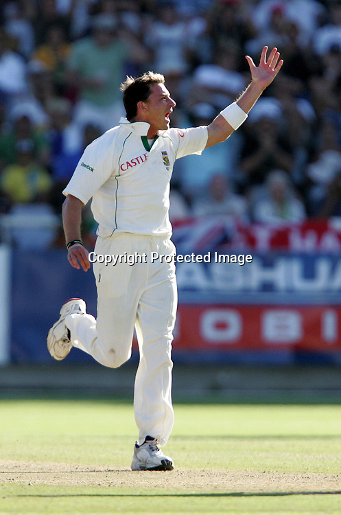 Dale Steyn celebrates the wicket of Stuart Broad during the 2nd day of the third test match between South Africa and England held at Newlands Cricket Ground in Cape Town on the 4th January 2010.Photo by: Ron Gaunt/ SPORTZPICS