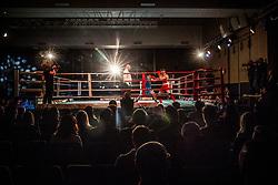 Jovan Stojanovic of Serbia (BLUE) fights against Edin Sejdinovic of Slovenia (RED) in Elite 69 kg Category during Dejan Zavec Boxing Gala event in Laško, on April 21, 2017 in Thermana Lasko, Slovenia. Photo by Vid Ponikvar / Sportida