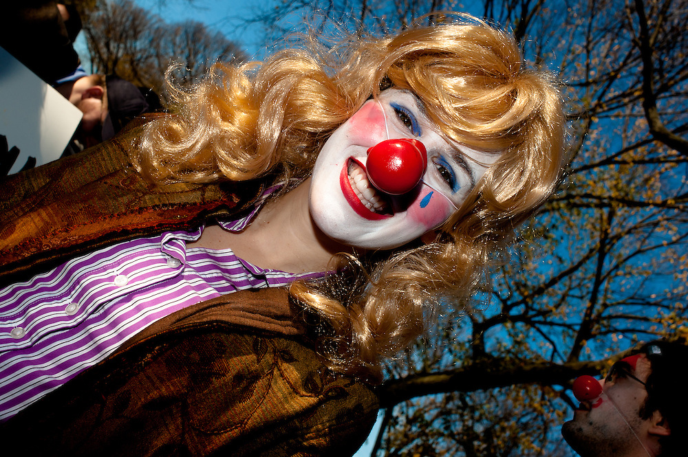 Washington, DC, October 30, 2010 - Jon Stewert and Steven Colbert host the Rally To Restore Sanity and/or Fear.  Tens of thousands of ralliers donned costumes and carried signs. Clown.