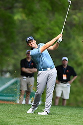May 3, 2019 - Charlotte, NC, U.S. - CHARLOTTE, NC - MAY 03: Adam Schenk takes a shot on the approach to the 11th hole green in round two of the Wells Fargo Championship on May 03, 2019 at Quail Hollow Club in Charlotte,NC. (Photo by Dannie Walls/Icon Sportswire) (Credit Image: © Dannie Walls/Icon SMI via ZUMA Press)