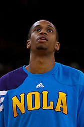 Mar 28, 2012; Oakland, CA, USA; New Orleans Hornets forward Lance Thomas (42) warms up before the game against the Golden State Warriors at Oracle Arena. New Orleans defeated Golden State 102-87. Mandatory Credit: Jason O. Watson-US PRESSWIRE