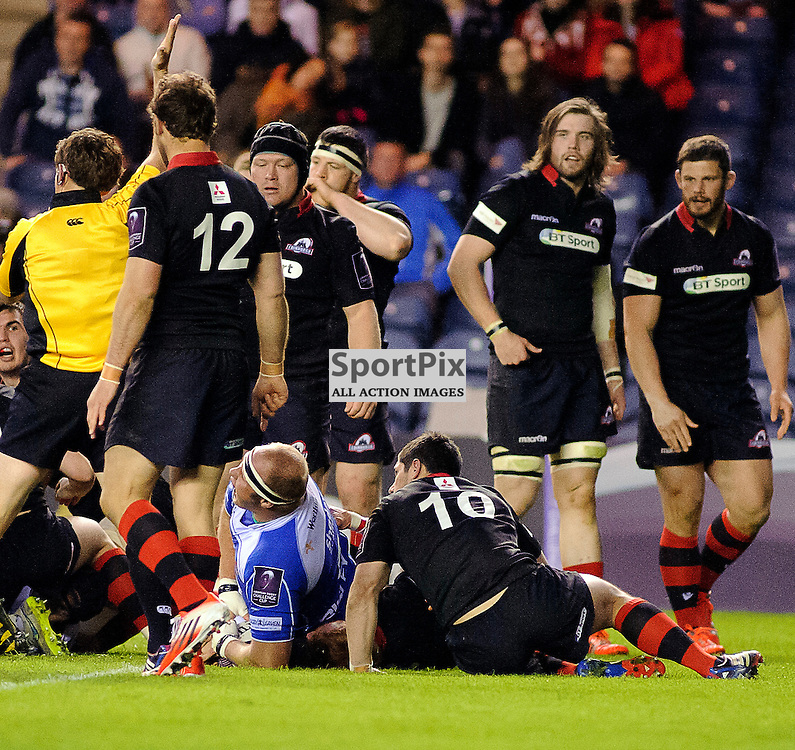 17/04/2015, Murrayfield, Scotland, Brok Harris scores a try during the Edinburgh Rugby v Newport Gwent Dragons European Challenge Cup game, ......(c) COLIN LUNN | SportPix.org.uk