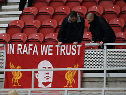MIDDLESBROUGH, ENGLAND - Saturday, January 12, 2008: Liverpool's supporters unveil a banner 'In Rafa We Trust' in support of their manager Rafael Benitez before the Premiership match against Middlesbrough at the Riverside Stadium. (Photo by David Rawcliffe/Propaganda)