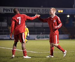 BRISTOL, ENGLAND - Thursday, January 15, 2009: Liverpool's Lauri Dalla Valle celebrates scoring the second goal against against Bristol Rovers during the FA Youth Cup match at the Memorial Stadium. (Mandatory credit: David Rawcliffe/Propaganda)