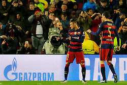 Neymar of Barcelona celebrates after scoring his sides first goal  - Mandatory byline: Matt McNulty/JMP - 16/03/2016 - FOOTBALL - Nou Camp - Barcelona,  - FC Barcelona v Arsenal - Champions League - Round of 16
