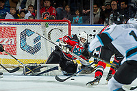 KELOWNA, CANADA - DECEMBER 2: Roman Basran #30 of the Kelowna Rockets makes a save against the Kootenay Ice on December 2, 2017 at Prospera Place in Kelowna, British Columbia, Canada.  (Photo by Marissa Baecker/Shoot the Breeze)  *** Local Caption ***