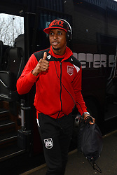 Jonathan Kodjia of Bristol City arrives at The Hawthorns as he listens to music with Beats by Dre headphones ahead of the FA Cup third round game between West Brom v Bristol City  - Mandatory byline: Dougie Allward/JMP - 09/01/2016 - FOOTBALL - The Hawthorns - Birmingham, England - West Brom v Bristol City - FA Cup Third Round