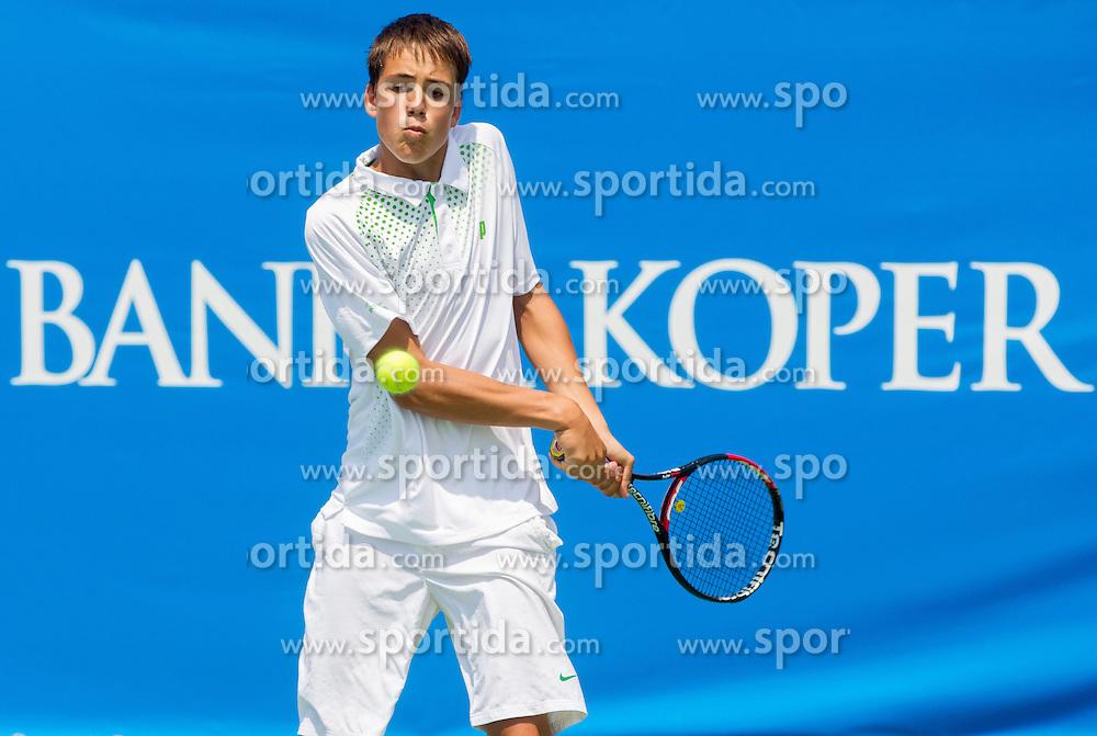 Jaka Kaplja of Slovenia playing doubles during Day One of tennis tournament ATP Challenger Tilia Slovenia Open 2013 on July 2, 2013 in SRC Marina, Portoroz / Portorose, Slovenia. (Photo by Vid Ponikvar / Sportida.com)
