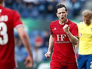 FODBOLD: Hallgrimur Jonasson (Lyngby BK) jubler efter scoringen til 0-1 under kampen i ALKA Superligaen mellem Brøndby IF og Lyngby Boldklub den 18. maj 2017 på Brøndby Stadion. Foto: Claus Birch