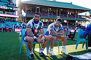Ligi Sao and Jazz Tevaga looking dejected. Sydney Roosters v Vodafone Warriors. NRL Rugby League. Sydney Cricket Ground, Sydney, Australia. 18th August 2019. Copyright Photo: David Neilson / www.photosport.nz