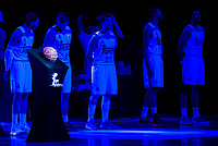 The official ball of Liga Endesa with Real Madrid's players Rudy Fernandez, Jonas Maciulis, Sergio Llull, Anthony Randolph and Gustavo Ayon during match of Liga Endesa at Barclaycard Center in Madrid. September 30, Spain. 2016. (ALTERPHOTOS/BorjaB.Hojas)
