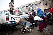 Kabul: UNHCR distributes charcoal and NFI's to registered IDP's at one of Kabul's Informal Settlement Sites in the city centre...57 families eek out a living in a dilapidated warehouse building owned by the Ministry of Transportation. The site originally served as a storage facility for the national bus company...Tajik and Pashtun families live side by side without any major conflict. Over 70% of the families are returnees from the period 2002-2004 who are unable to achieve sustainable reintegration in their places of origin and subsequently drifted to Kabul City in search of work...There is a nearby school which is accessible to the children but the poor economic circumstances of the many families oblige them to send their children out to work. low levels of literacy, particularly amongst the women, limit their access to employment other than the lowest paid daily wage labor...Afghanistan. /UNHCR/Jason Tanner/February 2011
