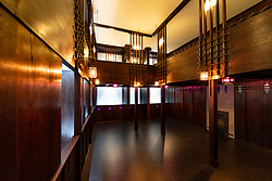 Interior of the Oak Room by Charles Rennie Mackintosh at  new V&A Museum in Dundee , Scotland, UK.