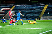 Josh Vickers of Lincoln City watches as the ball goes over the line to make it 1-0 to Rochdale during the EFL Sky Bet League 1 match between Rochdale and Lincoln City at the Crown Oil Arena, Rochdale, England on 17 September 2019.