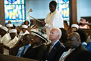 Democratic presidential hopeful former Vice President Joe Biden attends Sunday service at the Morris Brown AME Church July 7, 2019 in Charleston, South Carolina. South Carolina, called the First in the South, is the first southern democratic primary in the presidential nomination race.