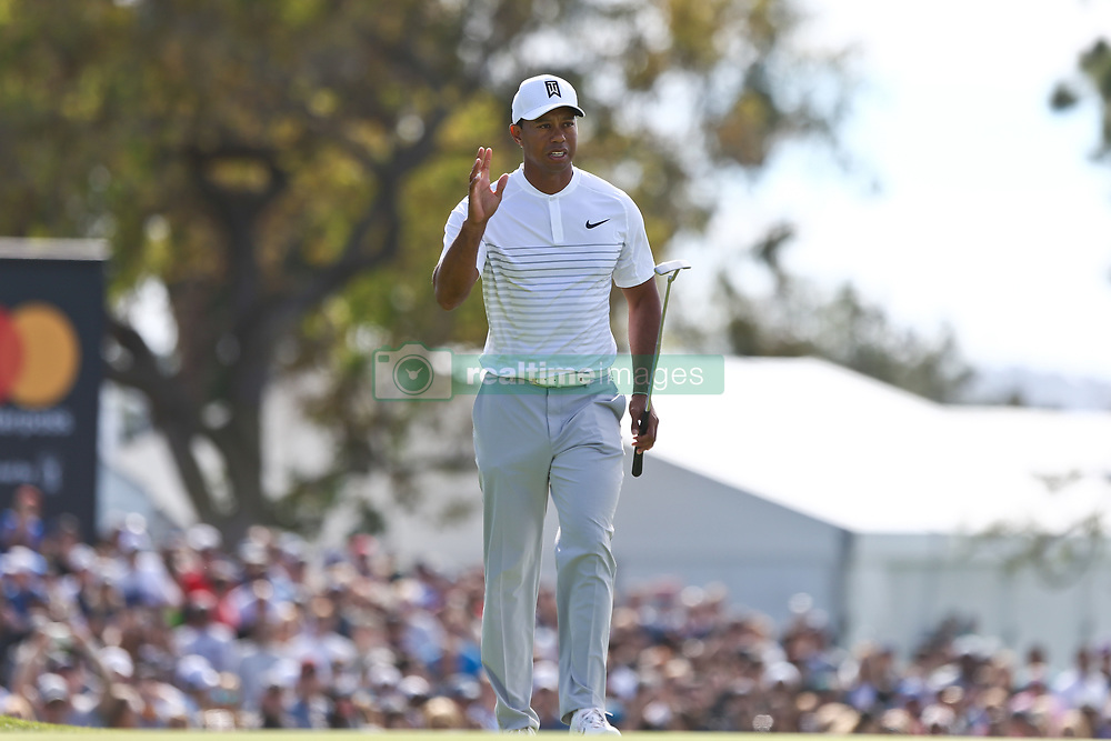 January 27, 2018 - San Diego, California, United States - Tiger Woods waves to the crowd on the 17th green during the third round of the 2018 Farmers Insurance Open at Torrey Pines GC. (Credit Image: © Debby Wong via ZUMA Wire)