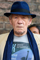 June 2, 2017 - London, London, UK - Actor Sir Ian McKellen takes part in the Amnesty International 'We Exist' protest outside the Russian Embassy over the LGBTI crackdown in Chechnya. (Credit Image: © Ray Tang via ZUMA Wire)