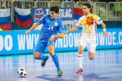 Douglas Junior of Kazakhstan and Adolfo of Spain during futsal match between Kazakhstan and Spain in Semifinals of UEFA Futsal EURO 2018, on February 8, 2018 in Arena Stozice, Ljubljana, Slovenia. Photo by Ziga Zupan / Sportida