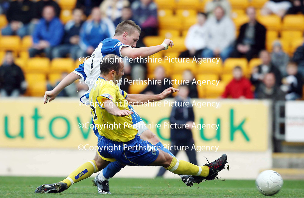 St Johnstone v Queen of the South....20.10.07<br /> Jamie McQuilken deflects Andy Jackson's shot wide<br /> Picture by Graeme Hart.<br /> Copyright Perthshire Picture Agency<br /> Tel: 01738 623350  Mobile: 07990 594431