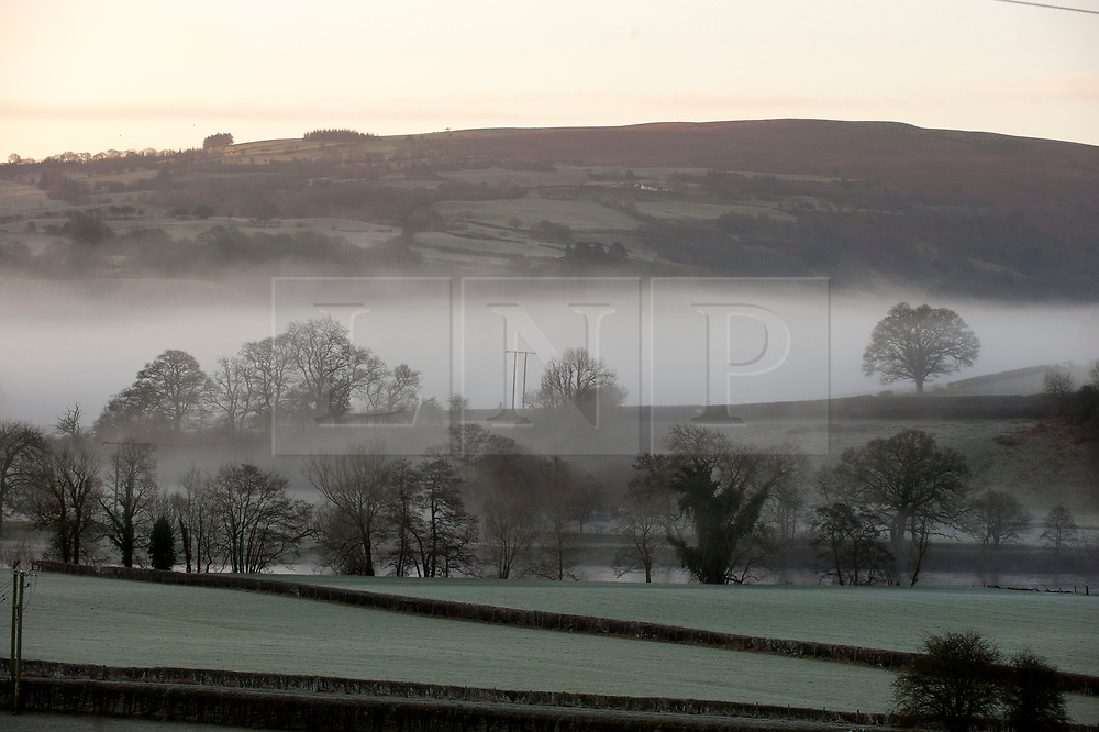 © Licensed to London News Pictures. 18/01/2020. Builth Wells, Powys, Wales, UK. Temperatures dropped to below freezing last night in the valleys near Builth Wells in Powys, Wales, UK. Photo credit: Graham M. Lawrence/LNP