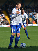 Craig Jones ushers to his team mates during the Sky Bet League 1 match between Bury and Port Vale at Gigg Lane, Bury, England on 19 September 2015. Photo by Mark Pollitt.