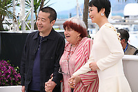 Director Jia Zhangke, Agnès Varda, President of the Jury Camera D'or and actress Tao Zhao, Tian Zhu Ding (A Touch Of Sin) film photocall at the Cannes Film Festival 17th May 2013