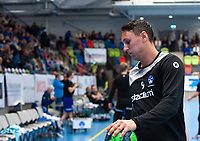 2019-04-23 | Jönköping, Sweden: During warmup before the qualifying game 4 to Swedish Handball League between IF Hallby HK and HIF Karlskrona at Idrottshuset ( Photo by: Marcus Vilson | Swe Press Photo )<br /> <br /> Keywords: Idrottshuset, Jönköping, Handball, Qualifying Game 4, IF Hallby HK, HIF Karlskrona, Sport