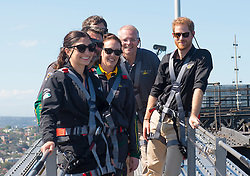The Duke of Sussex with Australia's Prime Minister Scott Morrison and Invictus Games representatives climb the Sydney Harbour Bridge in Sydney, on the fourth day of the royal visit to Australia.